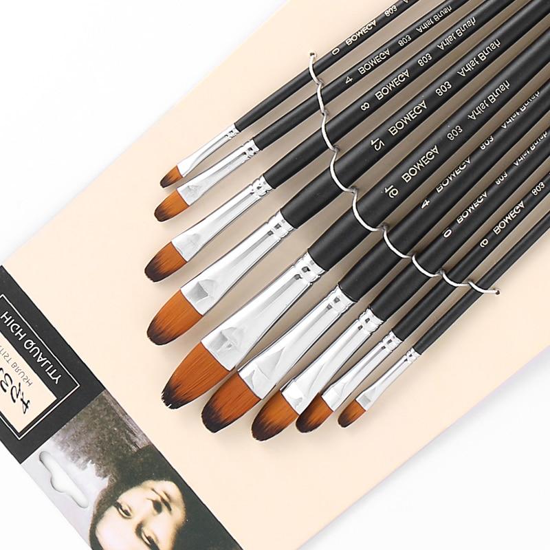 Купить с кэшбэком 9pcs/set Nylon Oil Paint Brush Round Painting Brush For Watercolor,Oil,Acrylic Brush Pen pincel para pintura Art Supplies 803
