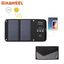 HAWEEL 2 Solar Panel 14W Foldable Solar Charger Outdoor Emergency Portable Backup Power 5V / 2.1A Max Dual USB Ports for Phone high quality 14w sunpower foldable solar charger portable solar charger for 5v output devices dual usb 2pcs lot free shipping