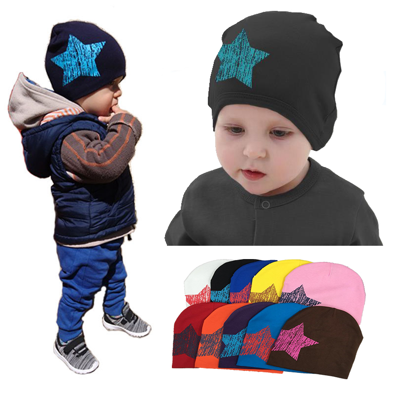 2018 hot baby Hat winter Caps Colorful Print Star Baby Beanie For Boys Girls Cotton Knit Hat Children Winter Hats Solid Cap baby caps crochet kids girls pompom hat winter beanie hats for girls children hats caps