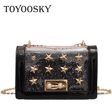 TOYOOSKY High Quality PVC Clear Rivets Women Crossbody Bag Girls Summer Fashion Jelly Handbag Star Transparent Flap Shoulder