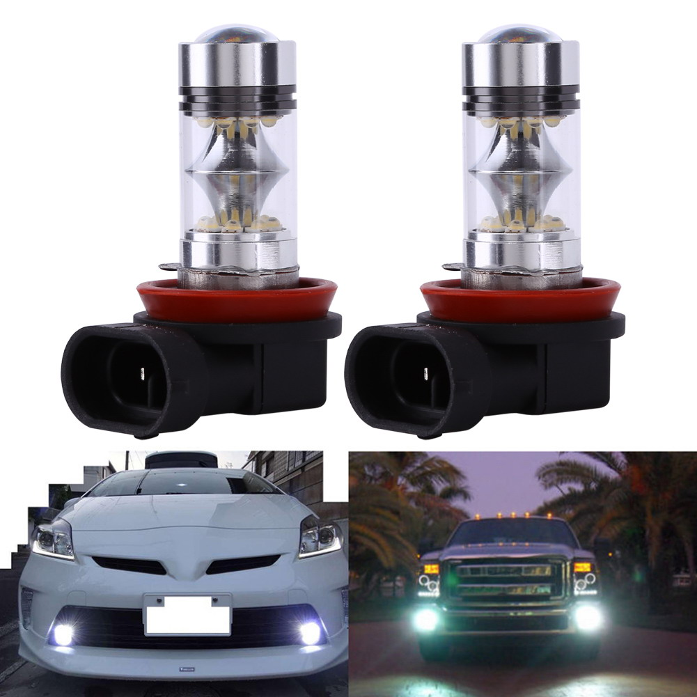 2Pcs White LED Car DRL Auto Parking Driving Daytime Running Lamp Fog Light Head Lamp 20 LED DRL Daylight H11 20SMD 1000LM 1 pair super bright 18w blue led eagle eye hawkeye car headlight drl daytime running light driving fog daylight safety head lamp