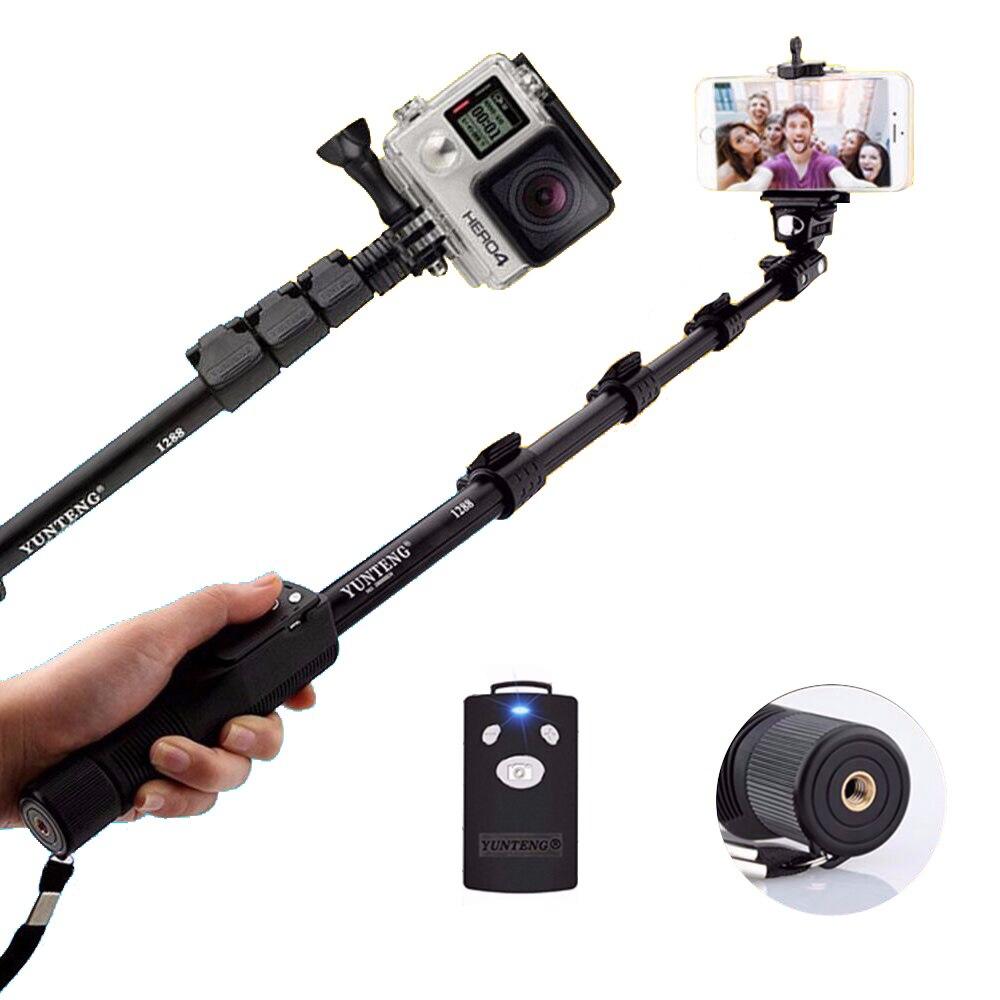 Yunteng 1288 Pour Gopro Hero5S 5 4 S 4 3 + SJCAM SJ400 SJ5000 SJ6000 Caméra De Poche Bluetooth Téléphone Selfie bâton monopode Auto Pole