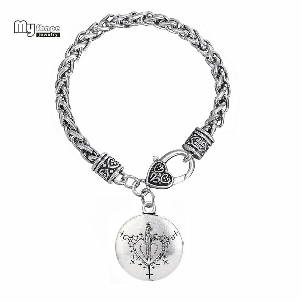 My Shape Love Talisman Chain & Charms Bracelet Vodoun Lwa Hoodoo Ezili Freda Voodoo Loa Veve Pendant Amulet Bracelets Bangles