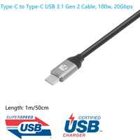 Meenova Ultra Type-C à Type-C USB 3.1 Gen-2 Câble (10 Gbps, 100 W PD de charge, e-marqueur), Thunderbolt 3 20 Gbps 4 k USB-IF Cert