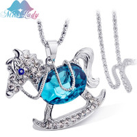 Miss Lady Creative Fashion Horse Necklace Crystal Animal Cartoon Stud Women S Jewelry Summer Stud Necklace