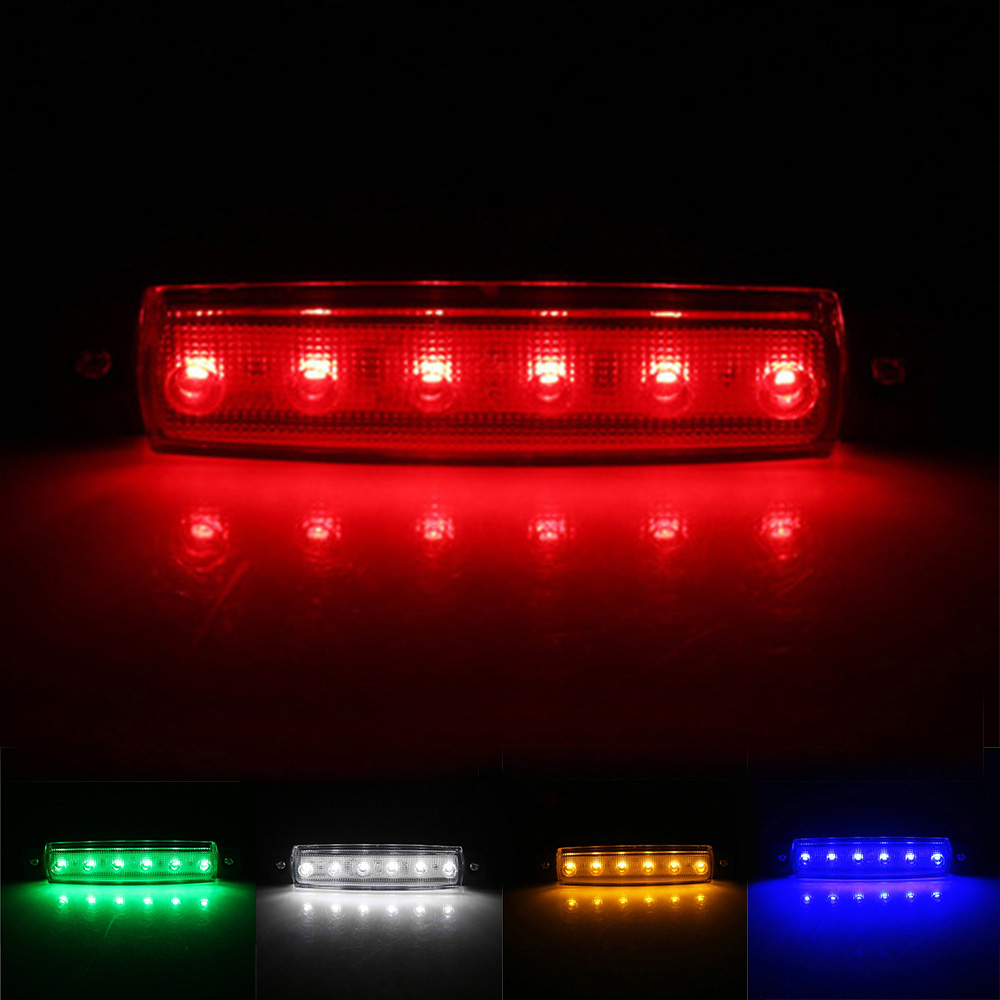 Universal 12V 24V 6 LED SMD Tail Signal Light Auto Car Bus Truck Lorry Marker Indicator Rear Side Lamp Car External Light LED
