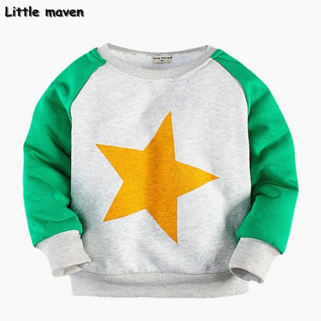 Little maven 2017 invierno niños/muchachas de la marca de ropa de los niños calientes del algodón estrella pullover grueso siesta sudadera wy003