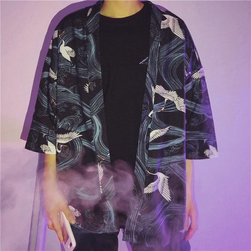 2018 Summer New Mens Fashion Personality Loose Flying Crane Robe Sun Protection Clothing Japanese Seven Sleeve Shirt