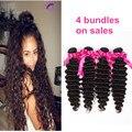 Unprocess 7a brasileño de la virgen del pelo de la onda profunda extensiones de cabello humano 4 bundles remy queen productos para el cabello 8-30 pulgadas de cabello weave bundles