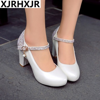 XJRHXJR Elegant Bride Wedding Shoes Women High Heels Bling Bling Sequined White Pink Ankle Strap Pumps Ladies Shallow Big Size - discount item 49% OFF Shoes