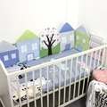 6PCS baby bed bumper crib bedding set breathable soft bed around protection house shape bumper set for girls boys