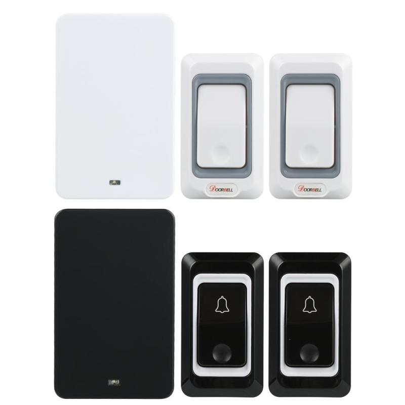 EU Plug Wireless Doorbell Kit White Black 433MHz Door Bell Chime 2pc Transmitters 1 Receiver Operate 28 Ringtone for Home Office