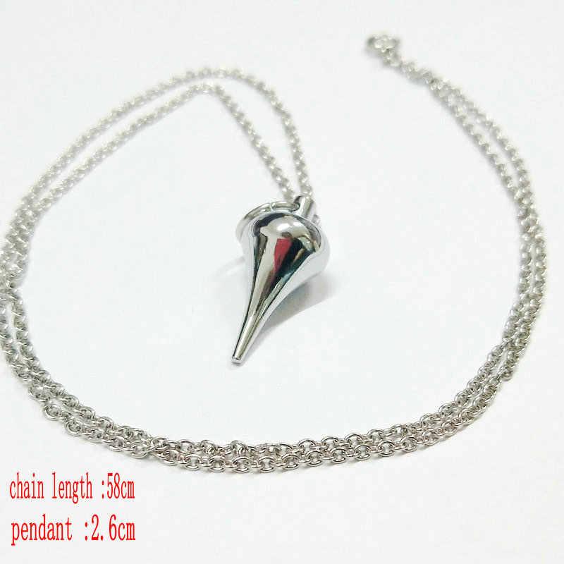 Metalowa miedź Dowsing Healing Pyramid Reiki Pendulum zawieszki charms Chakra Amulet chromowane złoto europejskie modne z łańcuchem