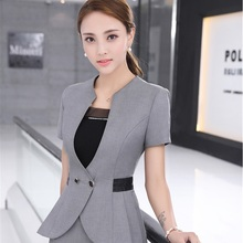 Novelty Grey Short Sleeve Summer 2017 Blazers Jackets Coat For Ladies Office Beauty Salon Outwear Tops Plus Size 4XL