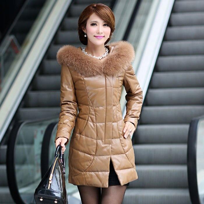 2016 fashion women faux fox collar coat sheep leather coat