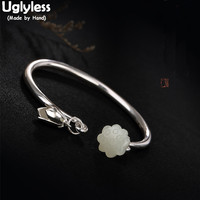 Uglyless Real 990 Fine Silver Bangles for Women Lovely Lotus Charms Bangle Luxury Natural White Jade Jewelry Ethnic Open Bijoux