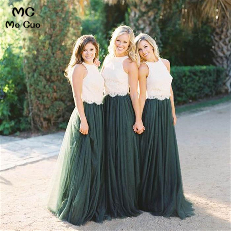 2019 Popular   Bridesmaid     Dress   with Lace Sleeveless Wedding Party   Dress   Tulle Dark Green Women   Bridesmaid     Dresses