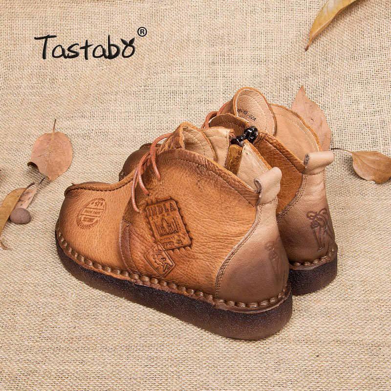 Tastabo Ayakkabı Kadın Kış Çizmeler El Yapımı yarım çizmeler düz çizmeler Hakiki Deri Ayakkabı Kadın Ayakkabı Artı Boyutu 42 43 Sıcak Botlar