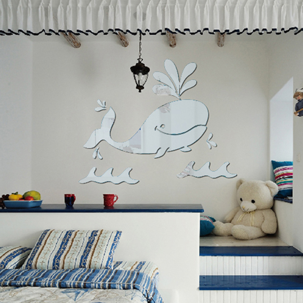 From the window to the wall whale - Cartoon Whale Mirror Wall Stickers Diy Kids Baby S Room Stickers Home Decoration Wall Decor Stickers