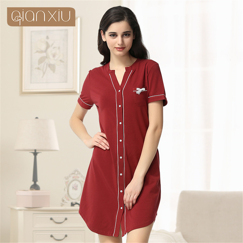 Qianxiu women nightgown cotton Nightshirt pattern fleece robe fun knee sleepwear nightgown clothing for home bathrobe women