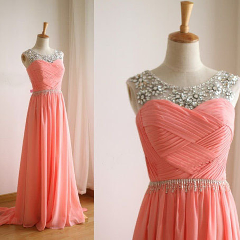 Fashion Crystal Beading Pleat Long Chiffon A-line Prom Gown Floor Length Party Dress For Weddings Custom Made