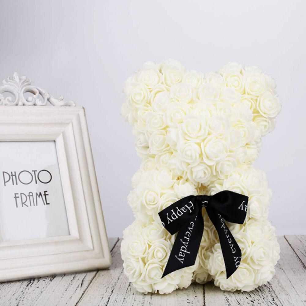 Искусственные цветы розы Медведь собака кролик Мопс юбилей день Святого Валентина подарок на день рождения мать подарок Свадебная вечеринка украшение - Цвет: 40CM White Bear