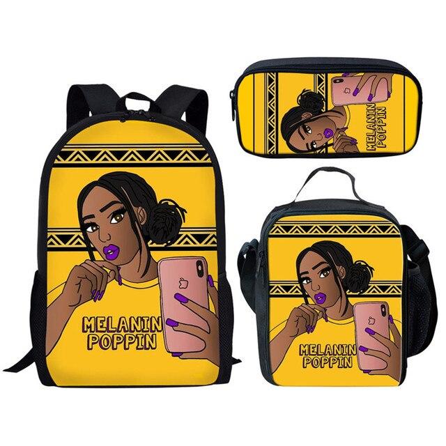 African American Cool Girl 3Pcs School Bags Set