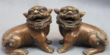 Chinese Bronze Copper Fengshui Mascot Fu Foo Dog Lion Guardian Door Statue Pair