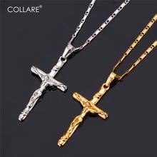 Collare Cross Necklaces & Pendants Gold/Black Color Necklace Women/Men Wholesale Jesus Piece Christian Jewelry P257