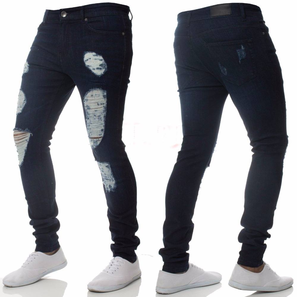 Skinny   Jeans   Pants Men 2018 Brand New Stretch Destroyed Ripped   Jeans   for Men Hip Hop Streetwear Denim Trousers Men   Jeans   Homme