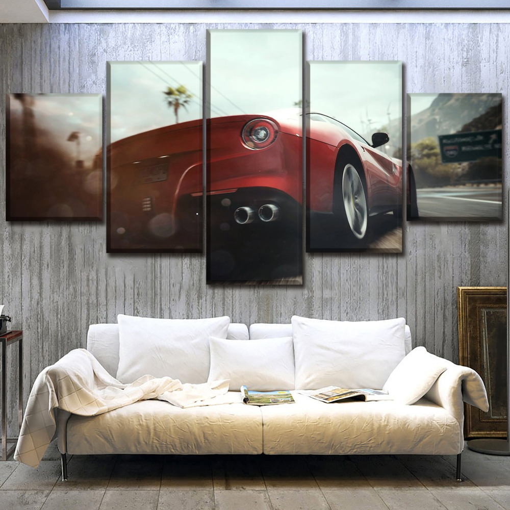 Canvas HD Print Home Decor 5 Pcs Game Need For Speed Rivals Painting Red Sports Car Poster Wall Art Bedroom Picture Framework image