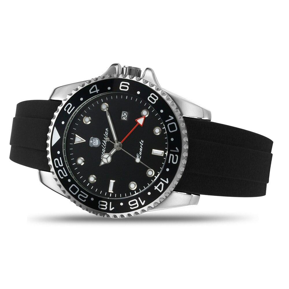 Relógios de Quartzo Pulseira de Silicone Wealthstar Marca Relógios Masculinos Case Data Automática Clássico Relógio Gmt Masculino Luxo 44mm