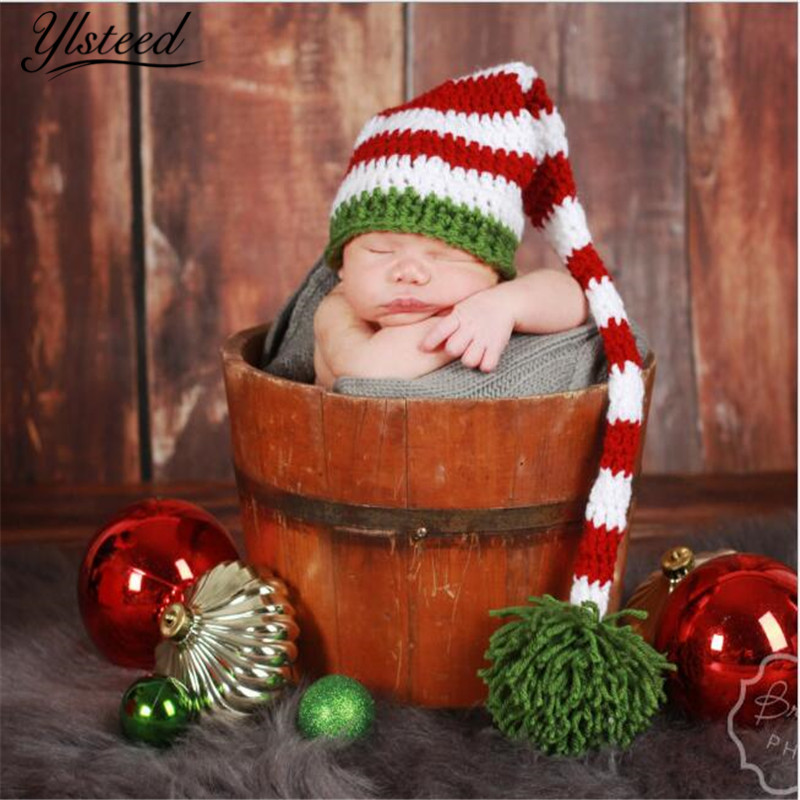 3M-6M Newborn Photography Props Crochet Baby Boy Stripe Hat Long Tail Christmas Hat for Photo Shooting Infant Outfits 6m baby boy hat pants set with tie little gentlemen cap casquette baby boy costumes for photo shooting baby photography props