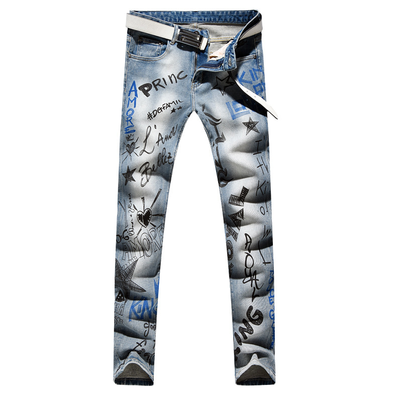Sokotoo Men's Fashion Letters Printed Jeans Slim Fit Light Blue Stretch Denim Pencil Pants