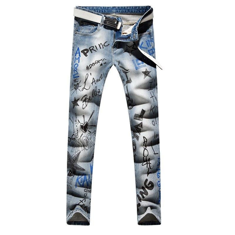 Sokotoo Men's fashion letters printed jeans Slim fit light blue stretch denim pencil pants