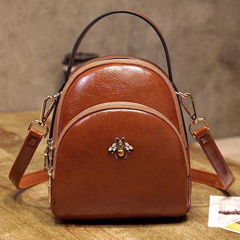 Chispaulo Women's Mochila High Quality Pu Leather Shoulder Bag New Small Bag Beautiful Little Bee Backpack Free Shipping