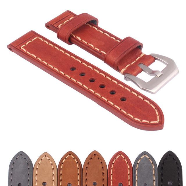 Comprar 2 Obter 10% de DESCONTO) 20/22/24/26mm Black Brown Handmade Couro Genuíno Real pulseira de Relógio pulseira de relógio de Pulso Banda Fivela