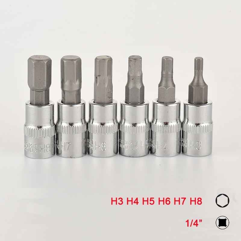 6pcs 1/4 Inch Hex Bit Socket Set  Allen Key Spline Bits H3 H4 H5 H6 H7 H8 Ratchet Socket Wrench Adapter Head For Torque Spanner