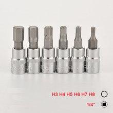 Conjunto de soquete allen para chave, 6 peças, 1/4 Polegada, hexagonal, h3 h4 h5 h6 h7 h8, soquete de catraca chave adaptador cabeça para chave de torque