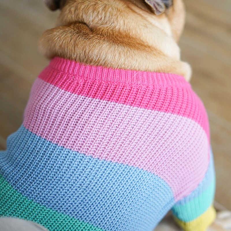 [MPK Vestiti Del Cane] Arcobaleno Maglione per Cani, Francese Bulldogs Abbigliamento Invernale Vestiti Del Cane