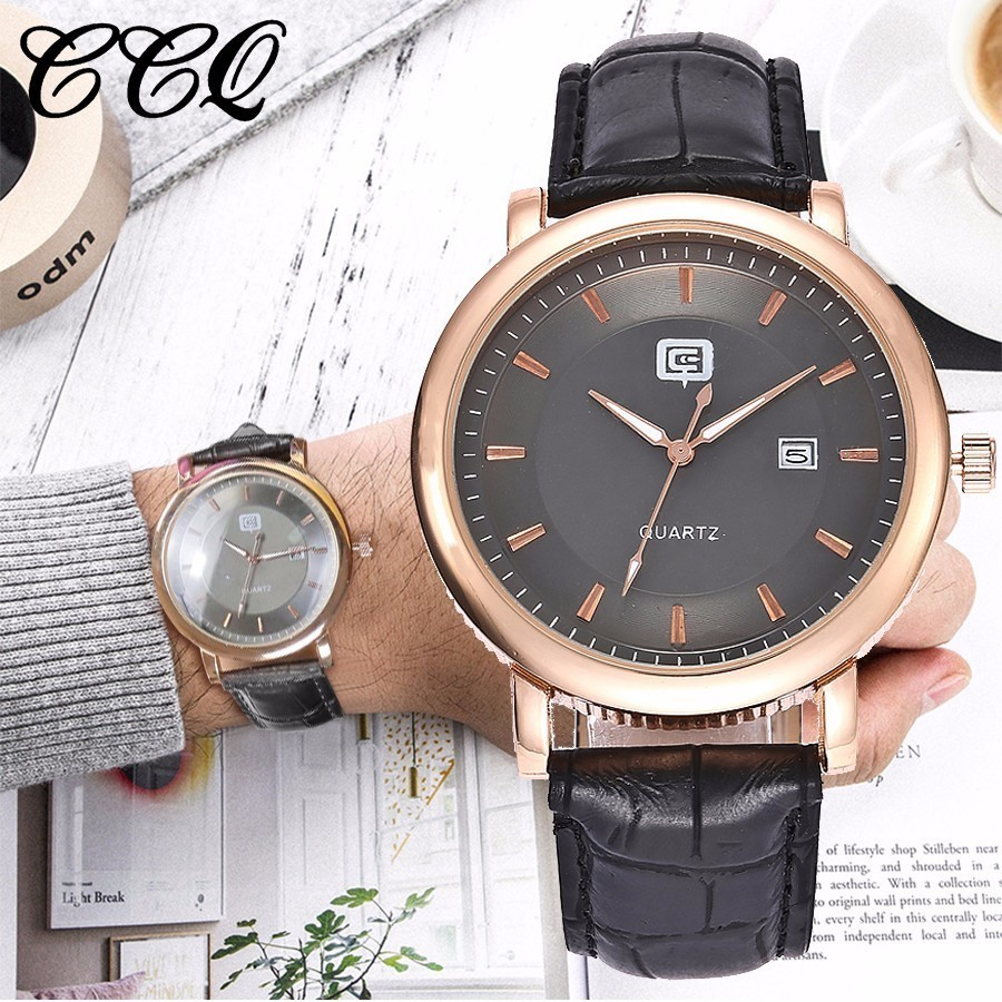 Mens Watches Top Brand Luxury CCQ Watch Men Fashion Business Quartz Watch Casual Leather Belt Male Watches Relogio Masculino mens watch top luxury brand fashion hollow clock male casual sport wristwatch men pirate skull style quartz watch reloj homber