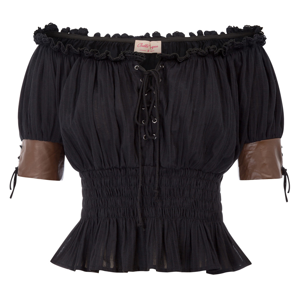 Women T-shirt Summer Sexy Black Womens Vintage Retro Steampunk Tee Shirt Victorian Half Sleeve Off Shoulder Gothic Punk Tops