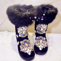 Real Fox fur Fur Winter Boots Rhinestones Diamond Fashion Snow Boots Thick Warm High Top Women Shoes Large Size 40