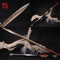 Prawdziwe chiński miecz ze stali giętej ostrze ręcznie kute osiem boczne grawerowane list Metal dekoracja wnętrz (rękodzieło)/powieść z pamiątkami