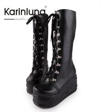 2016 big size 34-43 hot sale fashion punk woman shoes cosplay boots knee high heel platform sexy zip winter party wedges boots