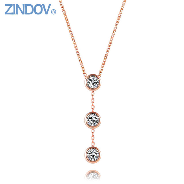CZ Crystal Women Choker Necklaces Pendants Stainless Steel Rose Gold
