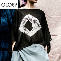 Women T Shirts Silk O Neck Short Sleeve 2018 Summer Casual High Quality Loose Black Tops Vintage Tie Dye T Shirts T067