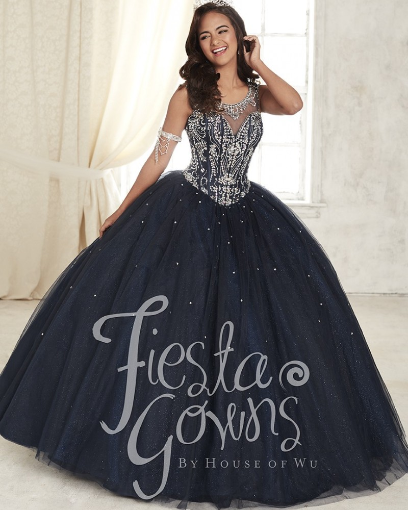 Sheer Wide Straps Black Quinceanera Dresses 2017 Tulle