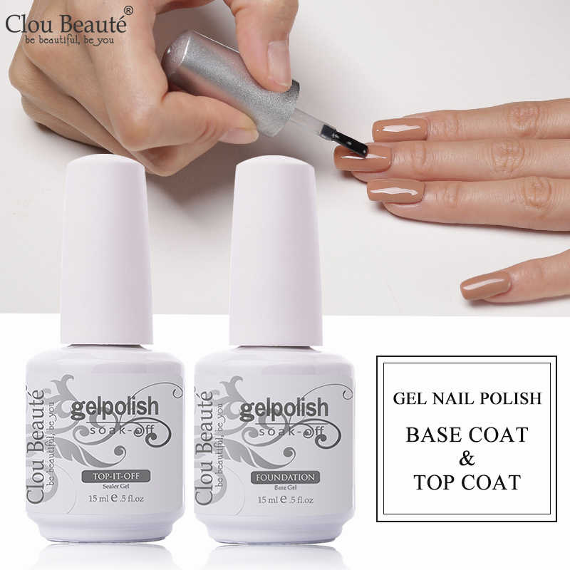 Clou Beaute Cat Kuku Gel 15 Ml Dasar dan Top Coat Gel Polish Nail Art Semi Permanen Pernis Rendam Off transparan Nail Primer