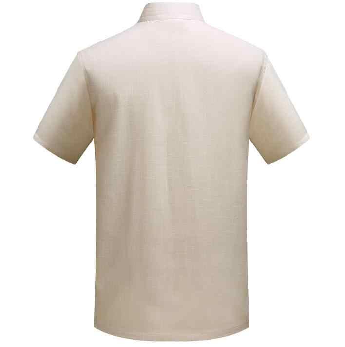 中国チュニックスーツ男性のスーツセットでパンツスタイル唐スーツセット夏半袖薄い歳韓服男性ブレザーベージュ